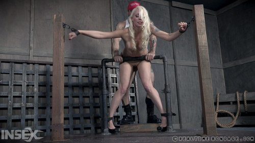 Marvelous beauty is screwed in doggystyle position with metal hook in the ass